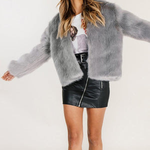 Pure Color Fashionable Imitation Rabbit Fur Loose Coat Gray s