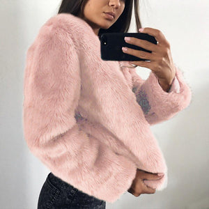 Pure Color Fashionable Imitation Rabbit Fur Loose Coat Pink 2xl