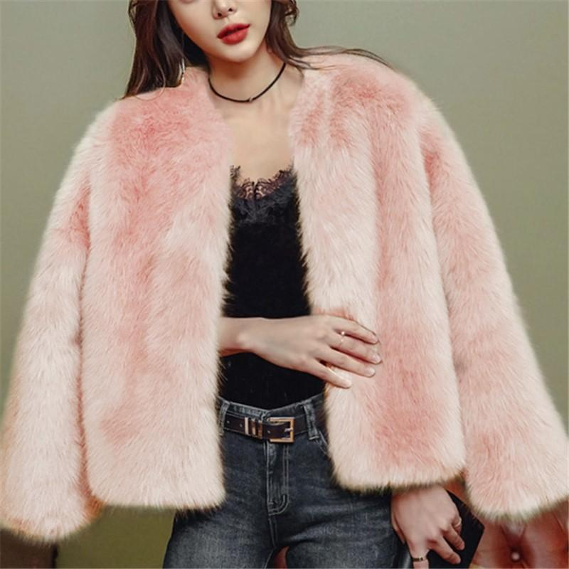 Pure Color Fashionable Imitation Rabbit Fur Loose Coat Pink xl