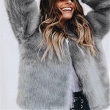 Pure Color Fashionable Imitation Rabbit Fur Loose Coat Gray l