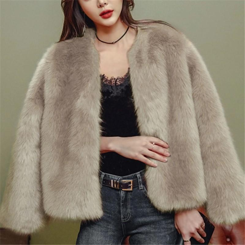 Pure Color Fashionable Imitation Rabbit Fur Loose Coat Khaki s