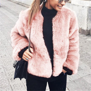 Pure Color Fashionable Imitation Rabbit Fur Loose Coat Pink m