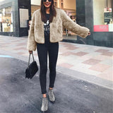 Pure Color Fashionable Imitation Rabbit Fur Loose Coat Gray 2xl
