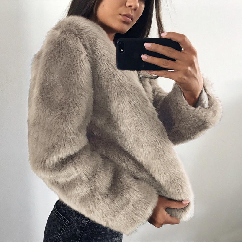 Pure Color Fashionable Imitation Rabbit Fur Loose Coat Khaki m