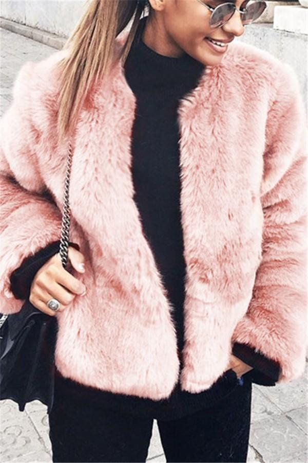 Pure Color Fashionable Imitation Rabbit Fur Loose Coat Pink s