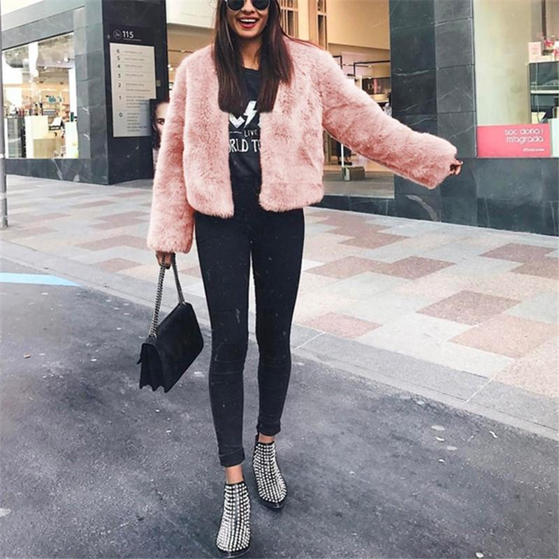 Pure Color Fashionable Imitation Rabbit Fur Loose Coat Pink l