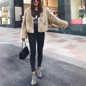 Pure Color Fashionable Imitation Rabbit Fur Loose Coat Khaki xl