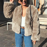 Pure Color Fashionable Imitation Rabbit Fur Loose Coat Gray 3xl