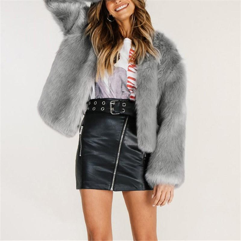 Pure Color Fashionable Imitation Rabbit Fur Loose Coat Khaki l