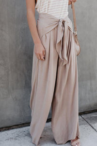 Loose Fitting  Belt  Plain Pants Khaki s