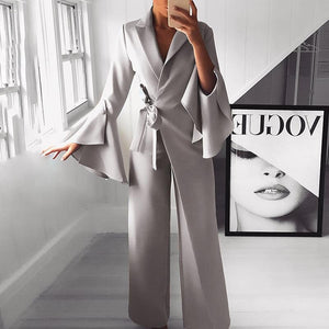 Fashion Pure Colour Bell Sleeve Jumpsuits Gray xl