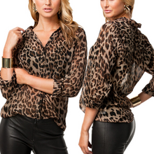 Fashion Leopard Print Long Sleeve Chiffon T-Shirt