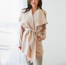 Pure Color Casual Slouchy Belted Woolen Overcoat