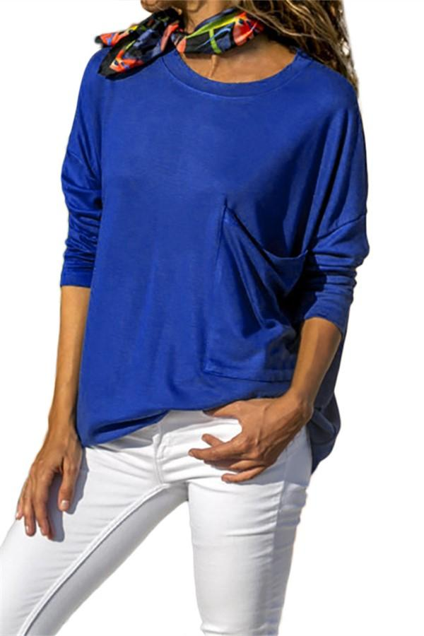 Pure Color Casual Round   Neck With Large Pocket  Long Sleeve T-Shirt Blue s