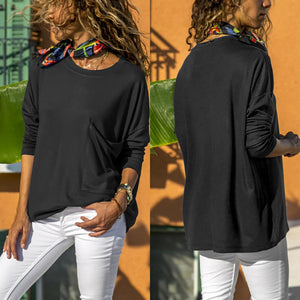 Pure Color Casual Round   Neck With Large Pocket  Long Sleeve T-Shirt White l