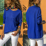 Pure Color Casual Round   Neck With Large Pocket  Long Sleeve T-Shirt Blue l