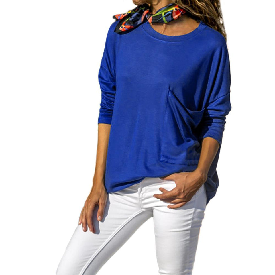 Pure Color Casual Round   Neck With Large Pocket  Long Sleeve T-Shirt Blue m