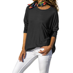 Pure Color Casual Round   Neck With Large Pocket  Long Sleeve T-Shirt White m