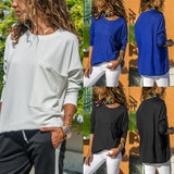 Pure Color Casual Round   Neck With Large Pocket  Long Sleeve T-Shirt Blue xl