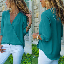 Pure Color Fashion V-Neck Long Sleeved Chiffon T-Shirt