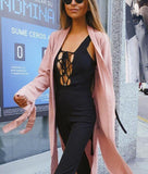 Pure Color Slit Length Style Trench Coat Over Cardigan Pink m