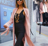 Pure Color Slit Length Style Trench Coat Over Cardigan Pink l