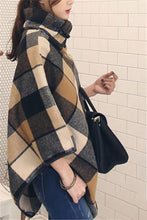 Plaid Shawl Large Size Stitched Woolen Cloak Coat