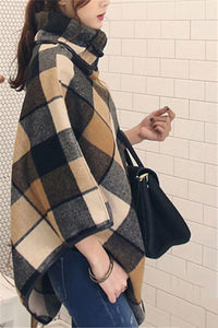 Plaid Shawl Large Size   Stitched Woolen Cloak Coat Same As Photo m