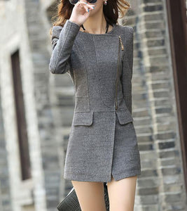 Pure Color Sexy Slim Woolen Coat Black m