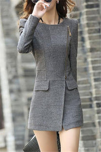 Pure Color Sexy Slim Woolen Coat Gray s