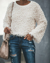 Pure Color Fluffy Slim And Plush Knitted Sweater