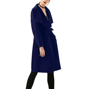 Fashion Pure Color Oversize Woolen Overcoat Red m