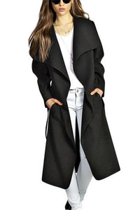 Fashion Pure Color Oversize Woolen Overcoat Black m