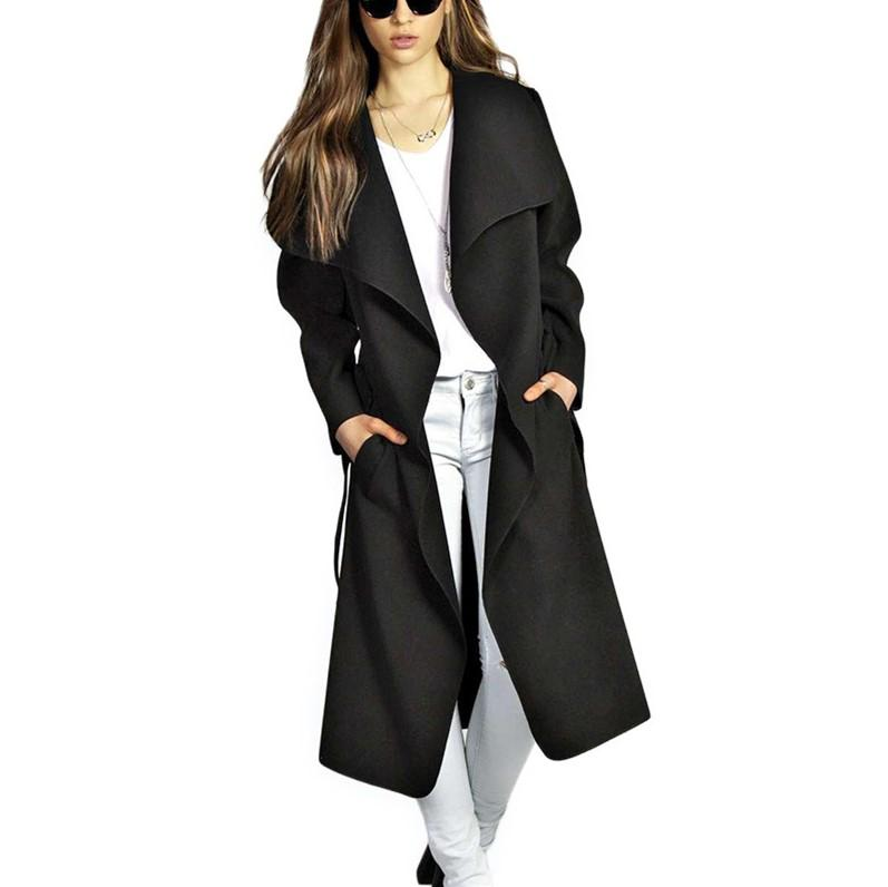 Fashion Pure Color Oversize Woolen Overcoat Black l