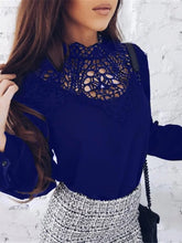Fashionable Collar Lace Hollow Long Sleeves Cool Chiffon Blouse T-Shirt