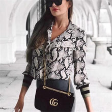 Business Sexy Fashion Slim Snake Print Long Sleeve Blouse