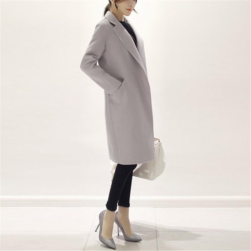 Pure Color Fashion  Slim And Long Woolen Overcoat Black m