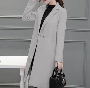 Pure Color Fashion  Slim And Long Woolen Overcoat Black l