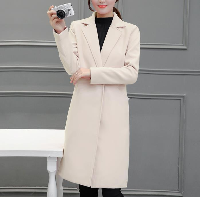 Pure Color Fashion  Slim And Long Woolen Overcoat Beige l