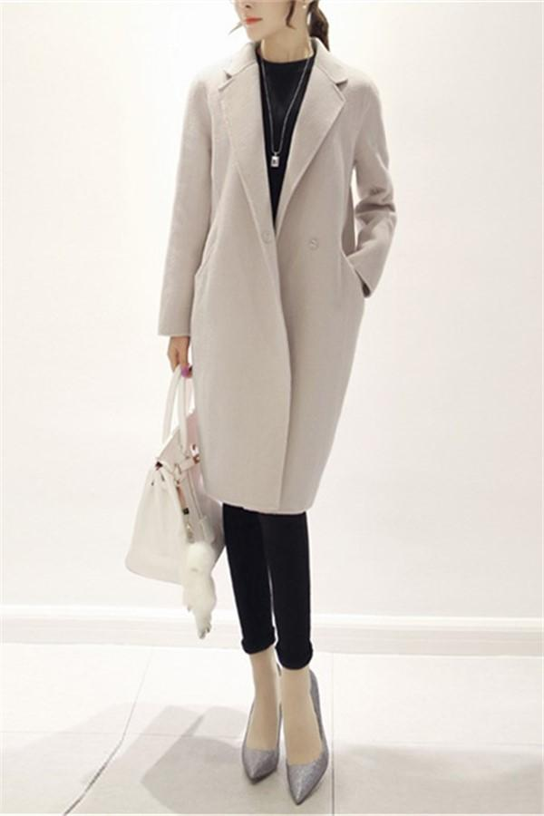 Pure Color Fashion  Slim And Long Woolen Overcoat Beige s