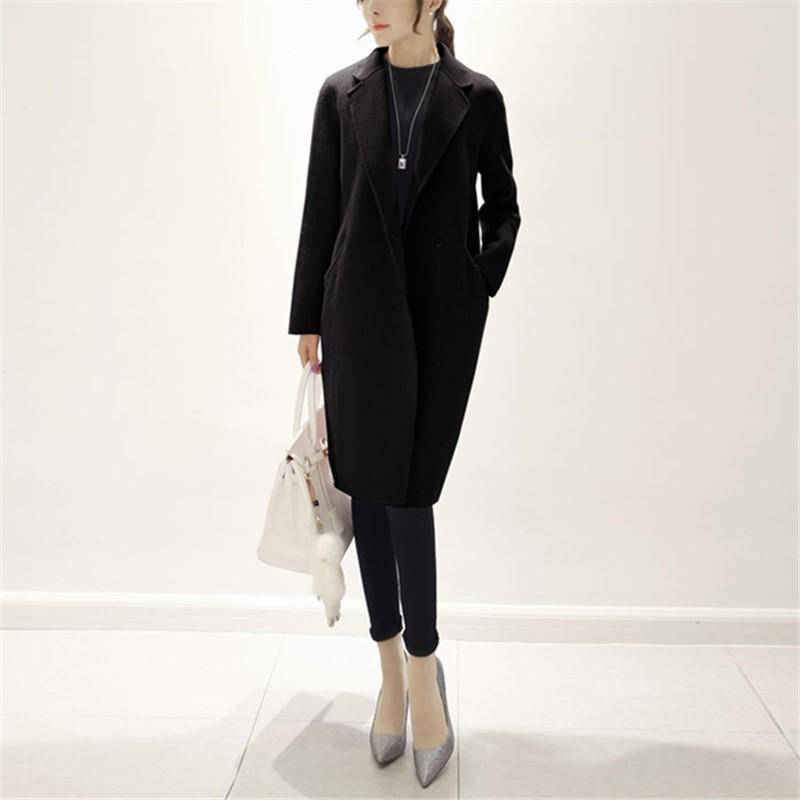 Pure Color Fashion  Slim And Long Woolen Overcoat Beige 2xl