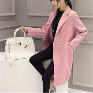Pure Color Fashion  Slim And Long Woolen Overcoat Black 2xl