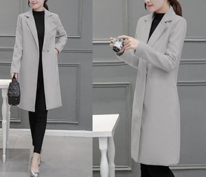 Pure Color Fashion  Slim And Long Woolen Overcoat Black xl