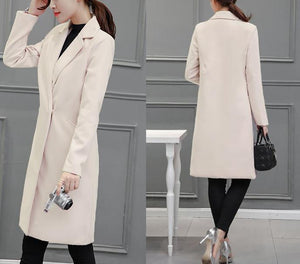 Pure Color Fashion  Slim And Long Woolen Overcoat Beige xl