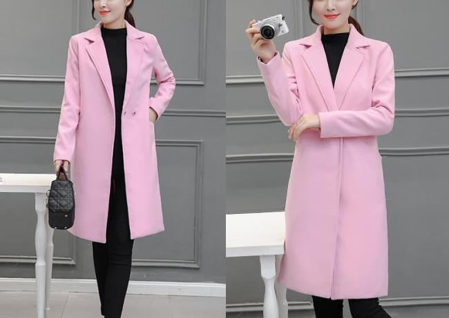 Pure Color Fashion  Slim And Long Woolen Overcoat Light Gray s