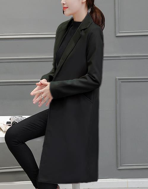 Pure Color Fashion  Slim And Long Woolen Overcoat Black s