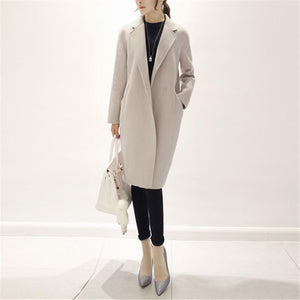 Pure Color Fashion  Slim And Long Woolen Overcoat Beige m