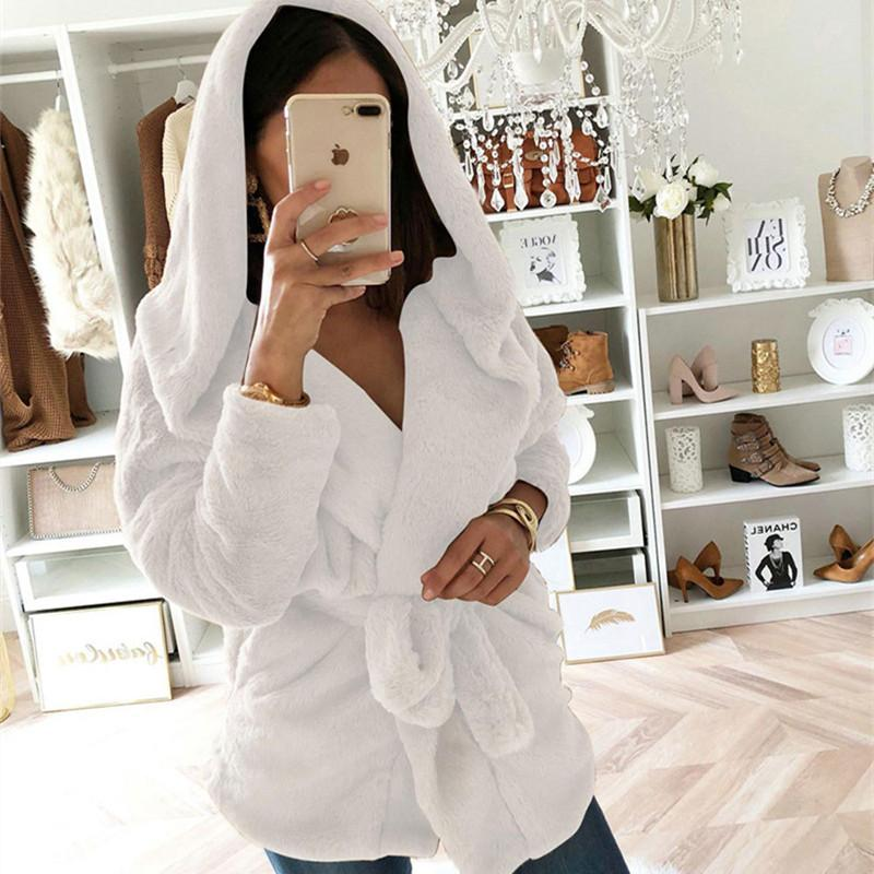 Fashion Lapel Tie   Waist Down With Hat Plush Coat White m