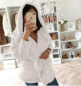 Fashion Lapel Tie   Waist Down With Hat Plush Coat White l
