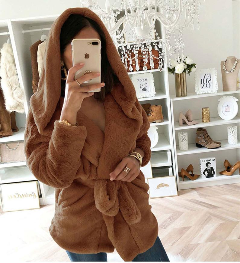 Fashion Lapel Tie   Waist Down With Hat Plush Coat Brown m
